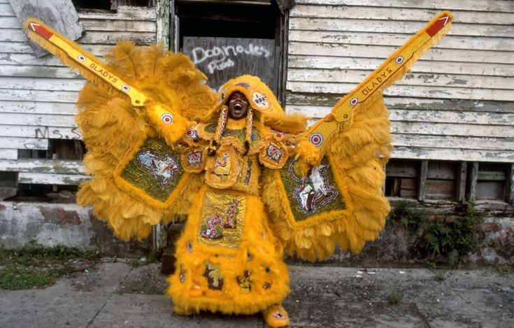 "Ervin ""Honey"" Barrister, Creole Wild West shows off his Mardi Gras Indian costum…"