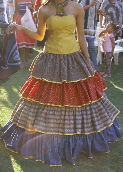 Shweshwe prints wedding dress