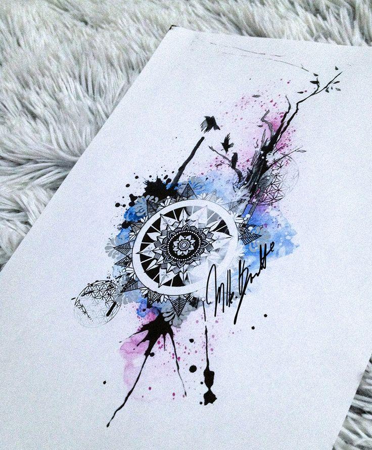 watercolor tattoo mandala design bird tree