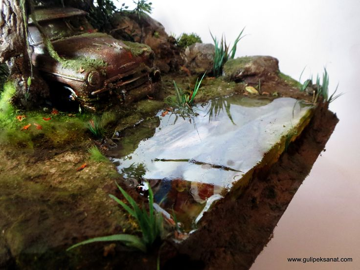 """#ArtResin used for water in this piece """"ABANDONED CAR/LAKE"""" by Gül Ipek www.gulipeksanat.com"""