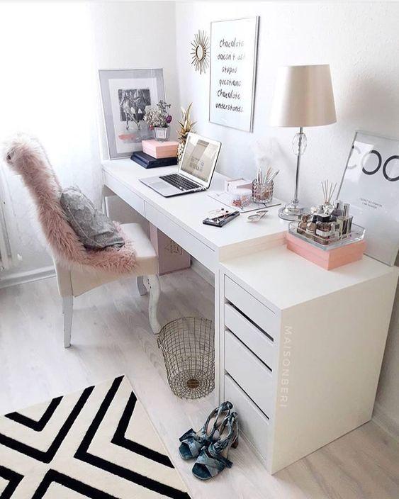 girl boss / escritorio feminino clean rose gold ro…