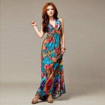Alluring V-Neckline Peacock Print Sleeveless Maxi Dress For Women, AS THE PICTURE, ONE SIZE in Maxi Dresses   DressLily.com