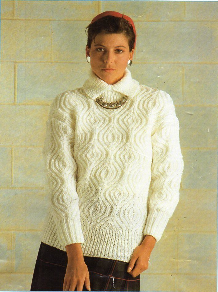 43fce89c7a womens sweater knitting pattern pdf ladies cable jumper with collar 30-46