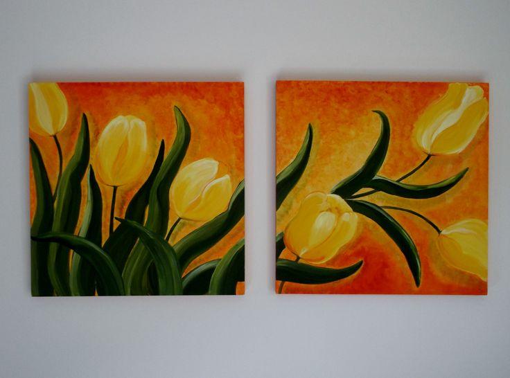 Tulipani gialli quadro composto da due tavole cm. 50 x 50 Yellow tulips