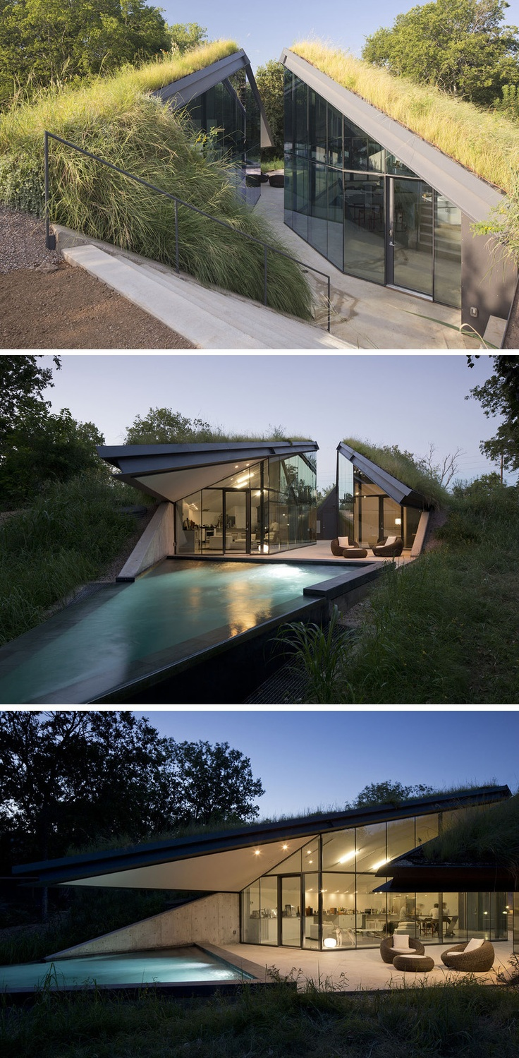 """""""Edgeland House"""": Situated along the Colorado River, this beautiful home is a modern reinterpretation of a Native American Pit House, employing earthen mass to maintain thermal comfort throughout the year. Built on former industrial land, the architects sought to metaphorically heal the previous """"scarring"""" by creating the side-by-side pavilions as an integral part of the surrounding landscape. 