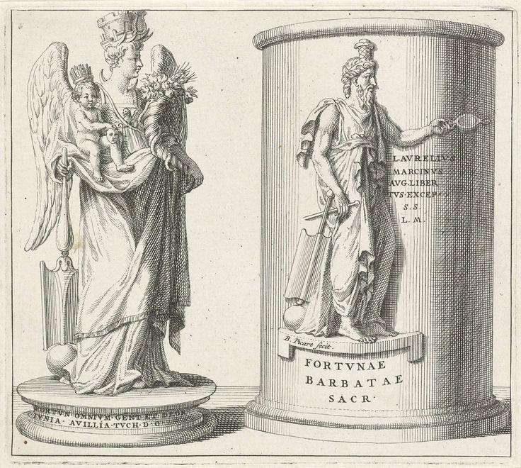 Twee standbeelden, Bernard Picart, 1683 - 1733