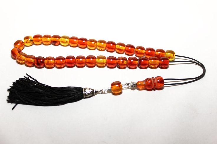 Cognac Amber color Worry Beads, Handmade Greek Komboloi, Tesbih, Handmade Tassel, Relaxation, Meditation. Code: sd2084_21 by AlterDecoCoinsnBeads on Etsy