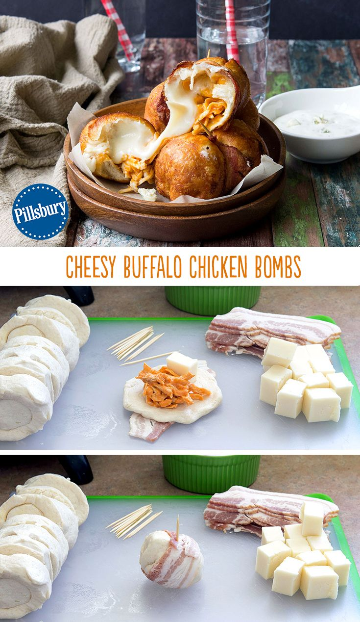 These Cheesy Buffalo Chicken Bombs are the bomb (pardon our pun)! This ultimate game day party snack now includes a classic buffalo chicken filling everyone will devour. It has all the best ingredients that will impress all your friends.