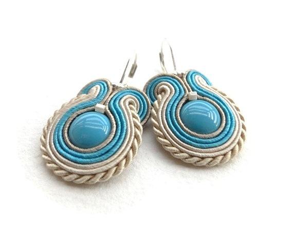 Soutache earrings beaded earrings spring pastel beige by soStudio, $31.00