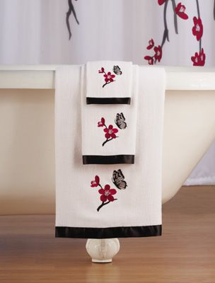 Asian Cherry Blossom Bathroom Towel Set Collections Etc