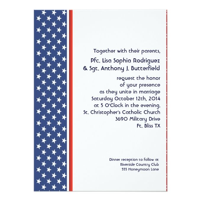 Exceptional Patriotic Military Stars And Stripes Wedding 5.5x7.5 Paper Invitation Card