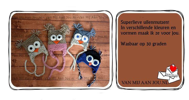 newborn baby peuter en kleuter maat - meisje - uilenmuts -  muts op bestelling gehaakt - met de hand op maat en kleur gehaakt - www.vanmijaanjou.nl -