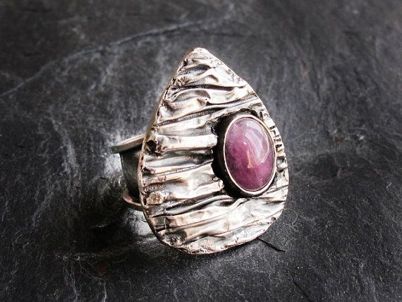 Pink Tourmaline Adjustable 925 Ring Sterling by GlassHouseLampwork