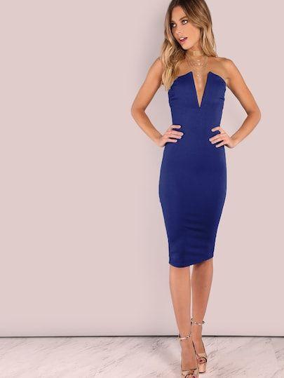 4606e65842 Plunging Bust Bandeau Bodycon Midi Dress -SheIn(Sheinside) | Cody ...