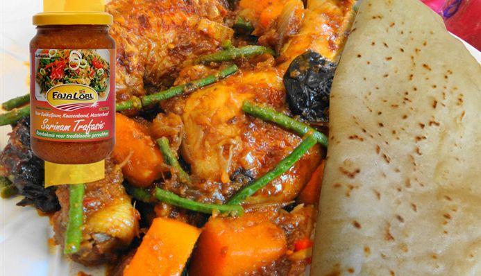 Surinaams eten – Surinaamse Roti met gestoofde Antilliaanse kip