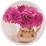 Sweet Blossoms Round Beach Towel. Sweet Blossoms - Magenta Pink Dahlias in Vintage Pitcher by Sandra Foster  #pinkflowers   #pink_dahlias   #pink_dahlia_still_life   #floralphotography   #floraldesign   #floral_still_life   #floral_work   #floralphotography  #sandrafoster #sandrafosterpixels #sandrafosterfineartamerica