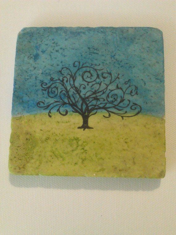 Stone Tile Coasters With Alcohol Ink in Citris and Sail