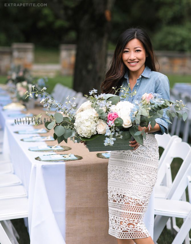 baby shower (boy) garden party table setting decor & centerpiece // chambray + lace skirt outfit