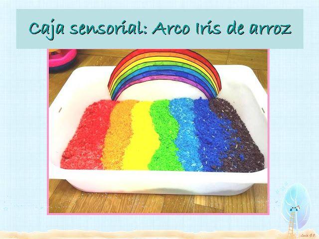 Recursos para Educación Infantil: Trabajamos el Arco Iris - caja sensorial con arroz...