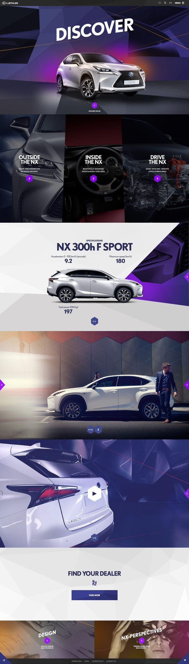 Unique Web Design, Lexus NX (http://www.lexus.eu/car-models/nx/nx-house/index.tmex#/discover/hero) #WebDesign #Design (http://www.pinterest.com/aldenchong/)
