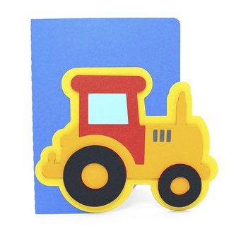 #Tractor #Card , Blank inside , #Kids , #Boys , #Girls , #Red , #Blue , #Yellow , #PaperCut , #Free #Confetti , All Occasions , #Birthday by PatchyPeanut on Etsy #Etsy