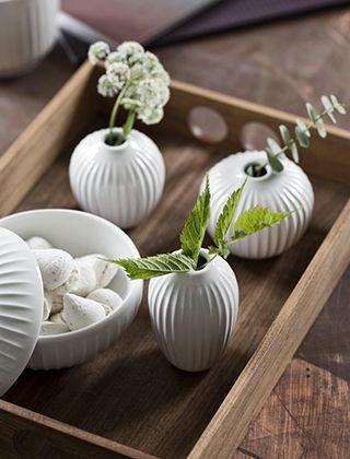 3er-Set Hammershøi Miniatur-Vasen, Weiß von Kähler Design
