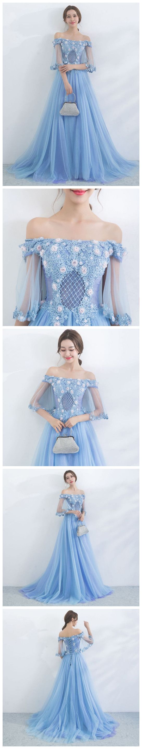CHIC A-LINE OFF THE SHOULDER BLUE APPLIQUE FLOWER MODEST LONG PROM DRESS EVENING DRESS AM530 #fashion #style #long #prom #party #evening #beauty #chic #modest #love #bridal #promdress #promdresslong #longpromdresses #longpromdress #eveningdress #promdresses #lightbluepromdress