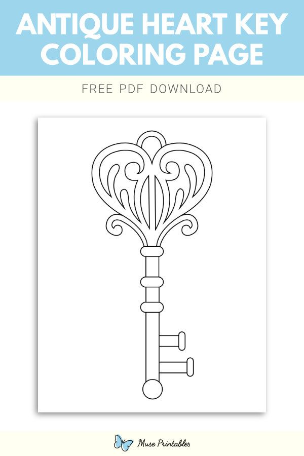 Antique Heart Key Coloring Page Coloring Pages Heart And Key Color