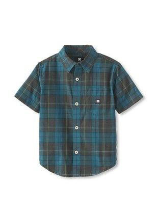 71% OFF DC Boy's 2-7 DC Boy's Dharma Short Sleeve Button-Up (Pirate Black Plaid)