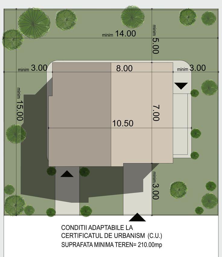 Casa mica organizata functional eficient pe parter si etaj- Plan de situatie| Single-family dwelling- Site plan| Etichete: proiecte case mici, proiecte case moderne, case mici cu etaj
