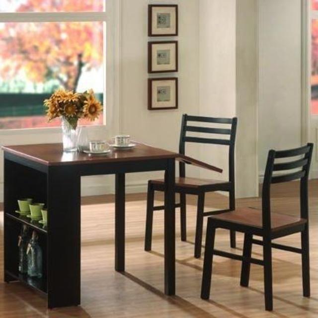 Coaster Furniture Brown Black Wood 3pc Dining Set  – Rental Reno