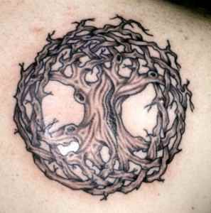"""Celtic """"Tree of Life""""  This tattoo was the basis for my stained glass quilt."""