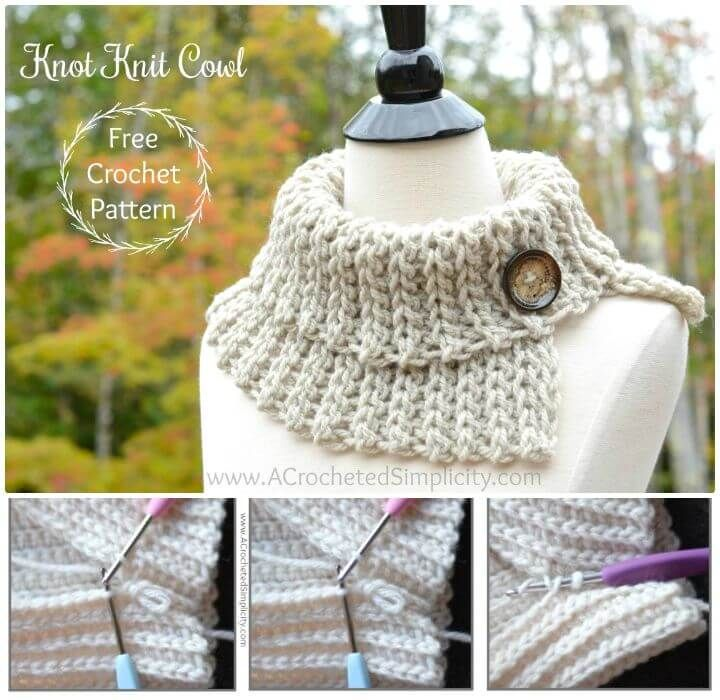 Free Crochet Knot Knit Cowl Pattern - 81 Free Crochet Cowl Patterns / Crochet Infinity Scarf - DIY & Crafts
