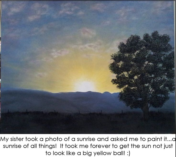 Painted a picture of a sunrise in  Cape Town, South Africa with the mountains in the background and only a silhouette of a tree and fence.