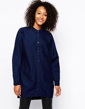 Monki Over Sized Chambray Shirt Dress