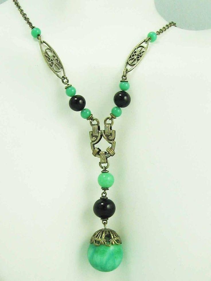 RARE!! Antique Art Deco Egyptian Revival  Green Jadite Onyx Glass Drop Necklace