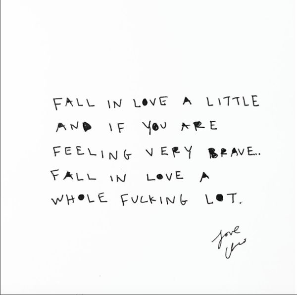 "Falling in love can be scary, but it is oh so worth it. | ""Fall in love a little and if you are feeling very brave... fall in love a whole fucking lot."" — Cleo Wade"