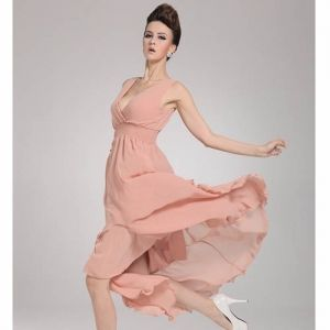 $11.70    Trendy Elegant Solid Design Low-cut Sleeveless Summer Chiffon Dress