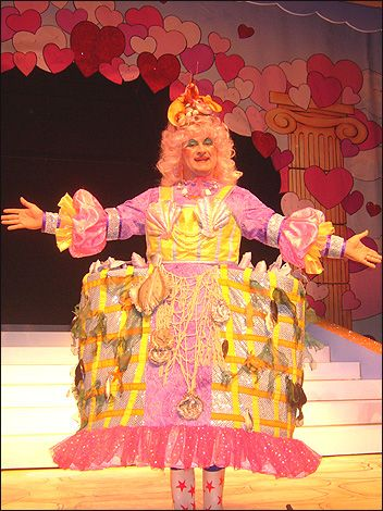 COSTUME. Dame costumes are often made to illustrate what is going on in the story of the panto, or to illustrate the setting