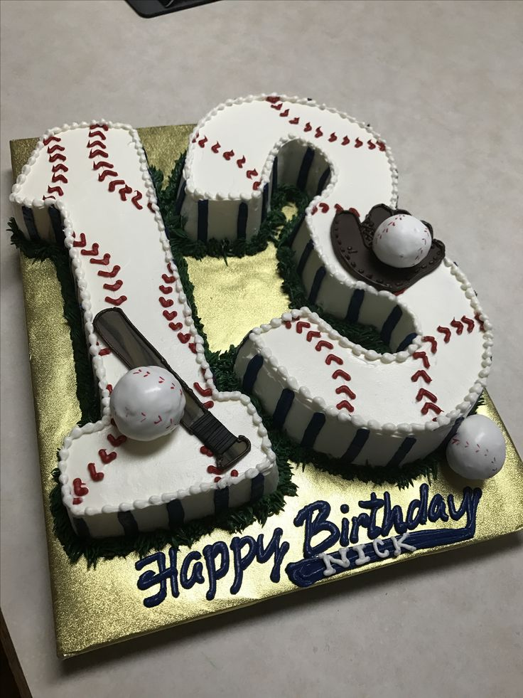 Baseball number cake with baseball cake pops