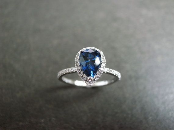 Pear Cut Blue Sapphire Diamond Engagement Ring by honngaijewelry, $1220.00