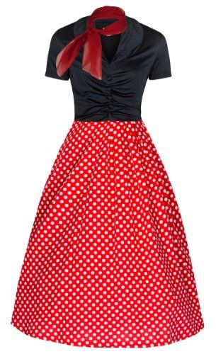 Lindy Bop 'Elsa' 1950's Robe Vintage, Party Evening Dress (36, Noir et pois rouge) Lindy Bop http://www.amazon.fr/dp/B00I7OBEWE/ref=cm_sw_r_pi_dp_MxUlub0SGM917