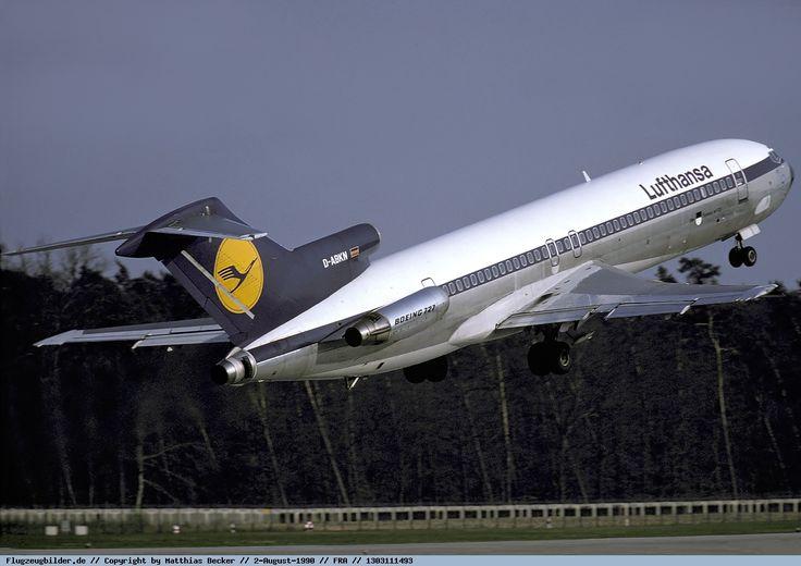"Lufthansa Boeing 727-230/Adv D-ABKN ""Ulm"" lifting off at Frankfurt-Main, August 1990. (Photo: Matthias Becker)"