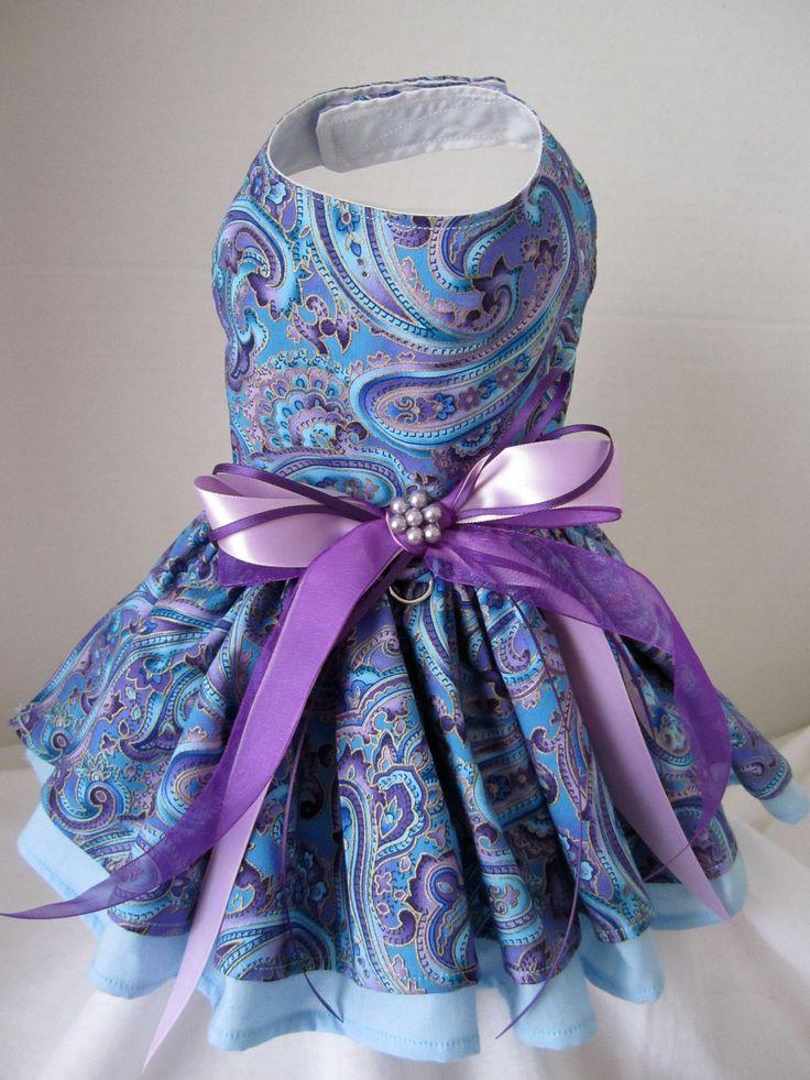 Dog Dress  XS    Blue and Purple Paisley  By Nina's Couture Closet. $30.00, via Etsy.