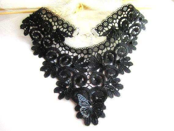 Black lace necklace lace bib necklace floral by MalinaCapricciosa