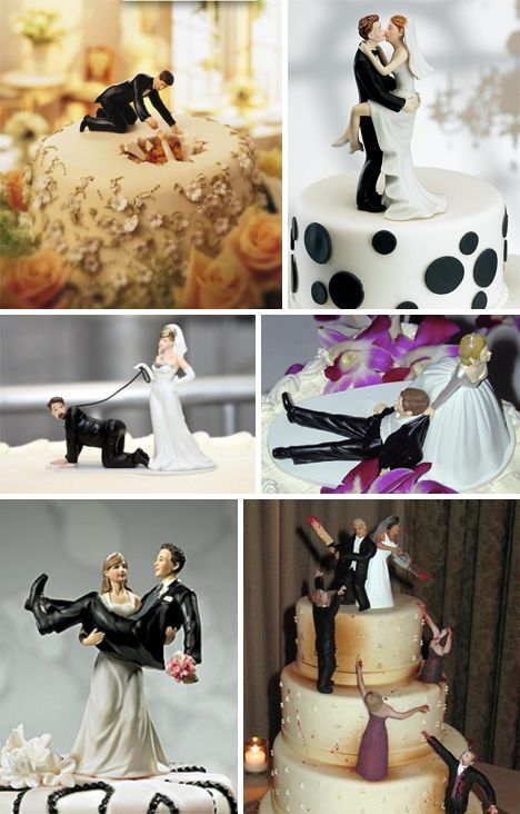 different & funny toppers- I like the first one where she fell thru the cake & the second one.  (the one where he is on a leash is a bit disturbing) and the last one where they are fighting off zombies is hilarious.