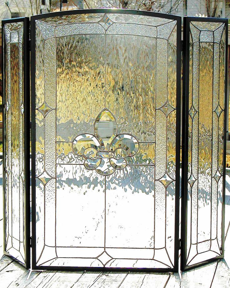 Fleur De Lis design.  #stainedglass #fireplace #screen #traditional #elegant #beautiful #stylish #privacy #creative #custom #homedecor #decor