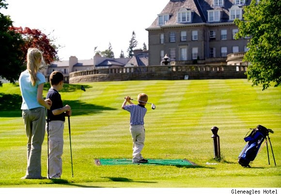 Golfing at Gleneagle Hotel in Scotland.  A unique place to spend quality time with the family