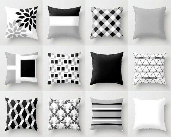 Throw Pillow Cover Black White Grey Couch Cushion Cover Contemporary Home Decor Living Room Ideias De Decoracao Tumblr Almofadas Listradas Almofadas Destacadas