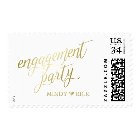 Heart & Names Gold & White Engagement Postage - click to get yours right now!
